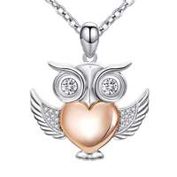 2018 New arrival 925 Sterling Silver Charm Owl Love Heart Pendant Necklace Animal Gifts for Women jewelry gifts