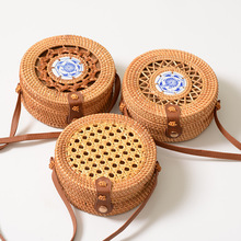Rattan womens bag handmade rattan hollow ceramic embroidery round shoulder net PU leather buckle ins with Bali