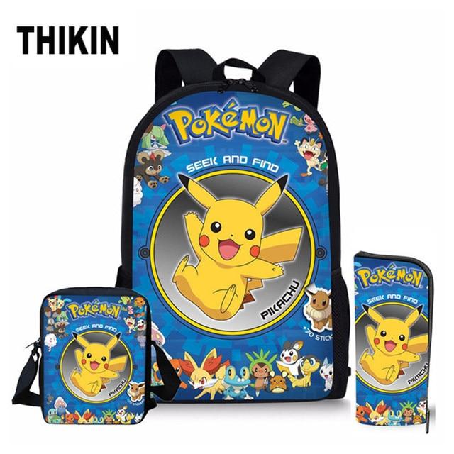 THIKIN Cartoon Anime Pokemon Pikachu School Bag Set for Teenager Boy Kid Backpack Satchel Children Book Hot Sale