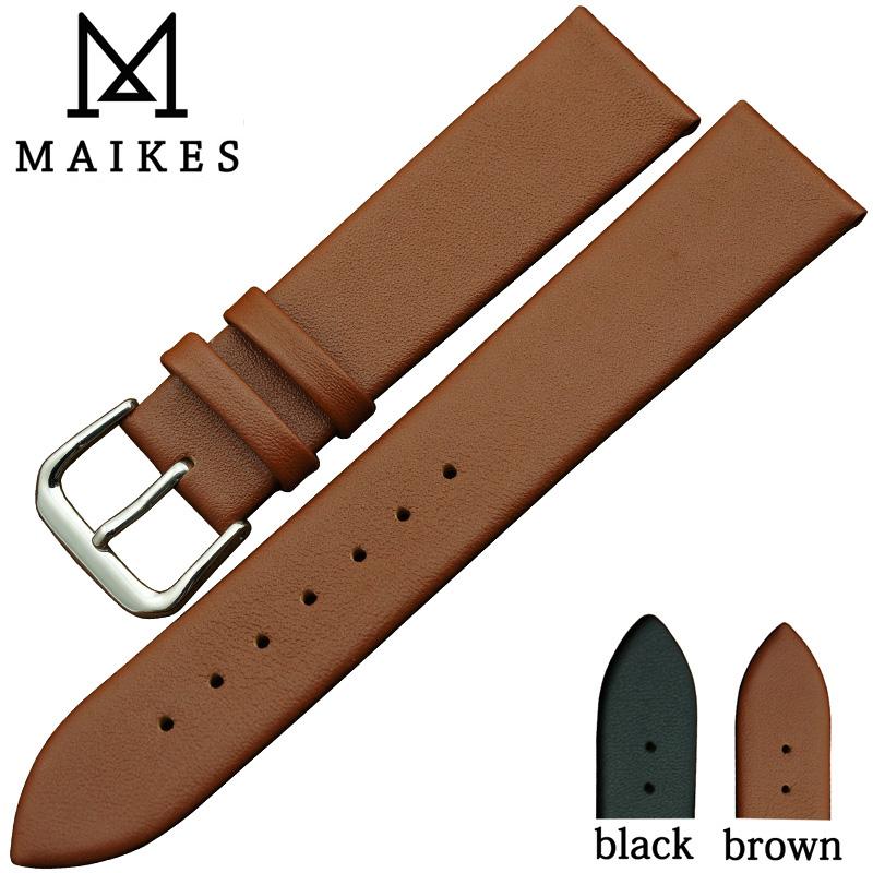 Prix pour MAIKES Haute Qualité Doux Brun Noir Mince Montre de Courroie De Bande 18 20 22mm de Cuir Véritable Bracelets Bracelet Ceinture Pour marque
