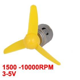 Uxcell(R) Hot Sale 1Pcs 1500 -10000RPM 3-5V High Torque DC Motor w Propeller for Model Aircraft