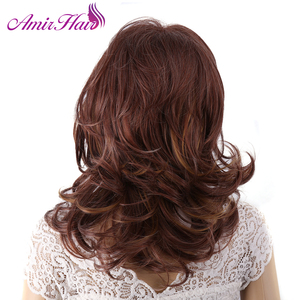Image 3 - Amir Hair perruque synthétique naturelle complète sans caresse, postiche longue brune et Blonde pour femmes, postiche de cosplay en filet