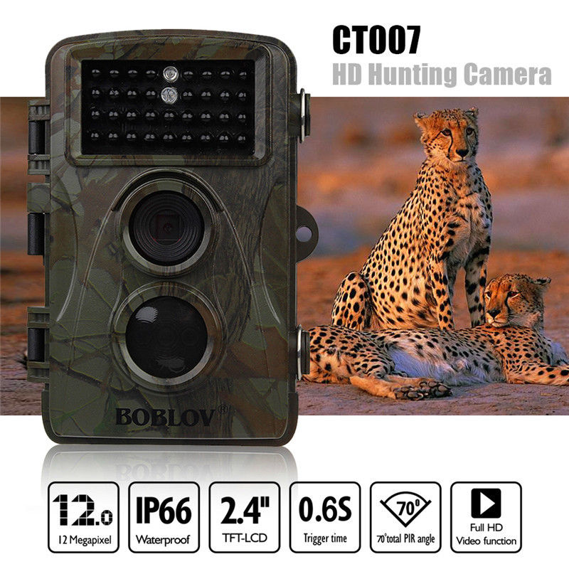 BOBLOV CT007 HD 1080P 12MP Hunting Camera Scouting Trail Camera Game Wildlife IR LED Night PIR Motion Detection 0.6S TriggerTime bestguarder sy 007 360 degree wireless hunting trail