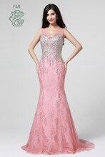 Fm heißer verkauf romantische spitze kristalle ärmelloses U-Ausschnitt bodenlange sexy back rosa kleid brauch lange abendkleider