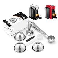 Ev ve Bahçe'ten Kahve Filtreleri'de Küçük kahve kapsül Pod paslanmaz çelik doldurulabilir kahve filtreleri Nespresso Vertuoline GCA1 ve Delonghi ENV135 makinesi