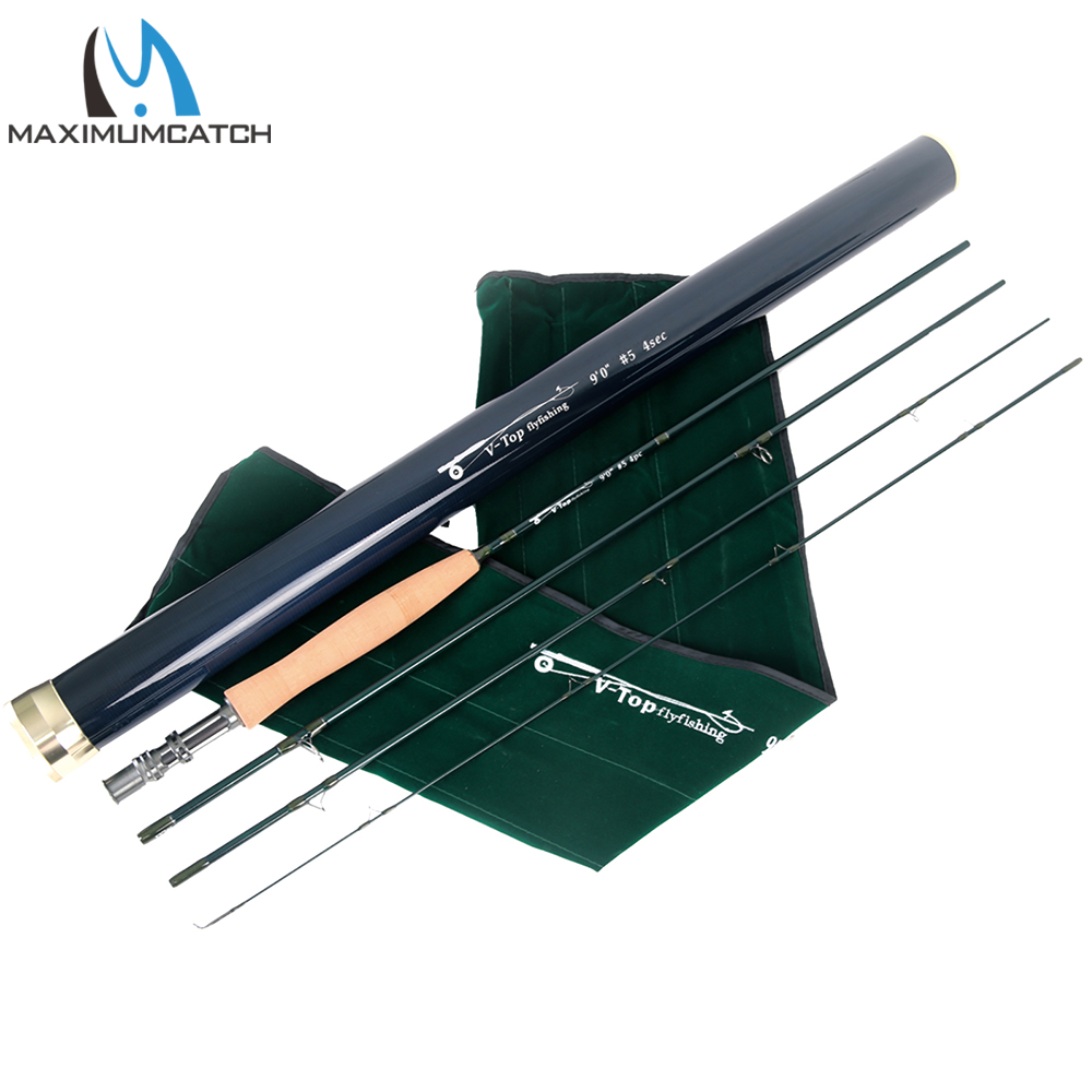 Maximumcatch Fly Rod 40T+46T SK Carbon Fast Action AAAA Cork Handle With Aluminium Tube Fly Fishing Rod 5/6/8WT 9FT