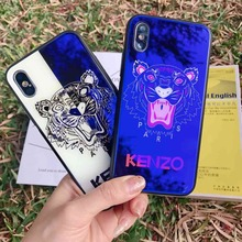 The Tiger Pattern Tempered Glass Phone Cover For Apple iphone 6 6S 7 8 X plus XR XS XS MAX Changing Color Protective Shell+Gift.