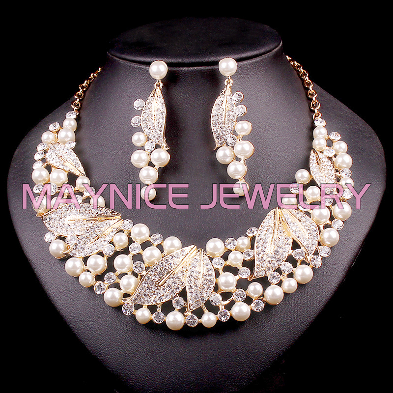 Fashion Imitation Pearl Bridal Jewelry Sets Wedding Beads Leaf Necklace Earrings sets for Brides Party Costume Decoration WomenFashion Imitation Pearl Bridal Jewelry Sets Wedding Beads Leaf Necklace Earrings sets for Brides Party Costume Decoration Women