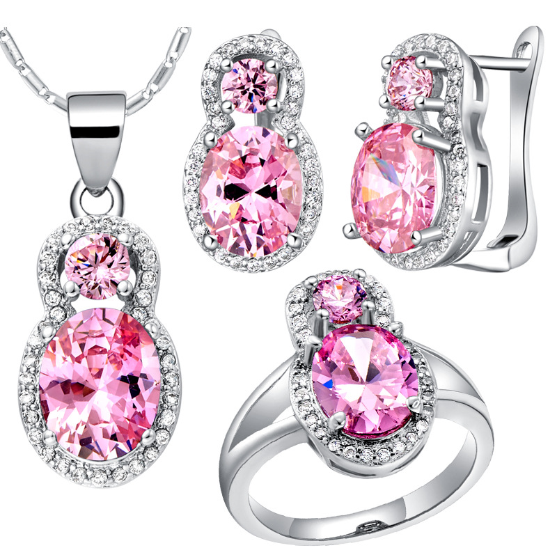 Suits Jewelry-Sets Ring Pink Popular Women Sa-Made High-Grade Luxury
