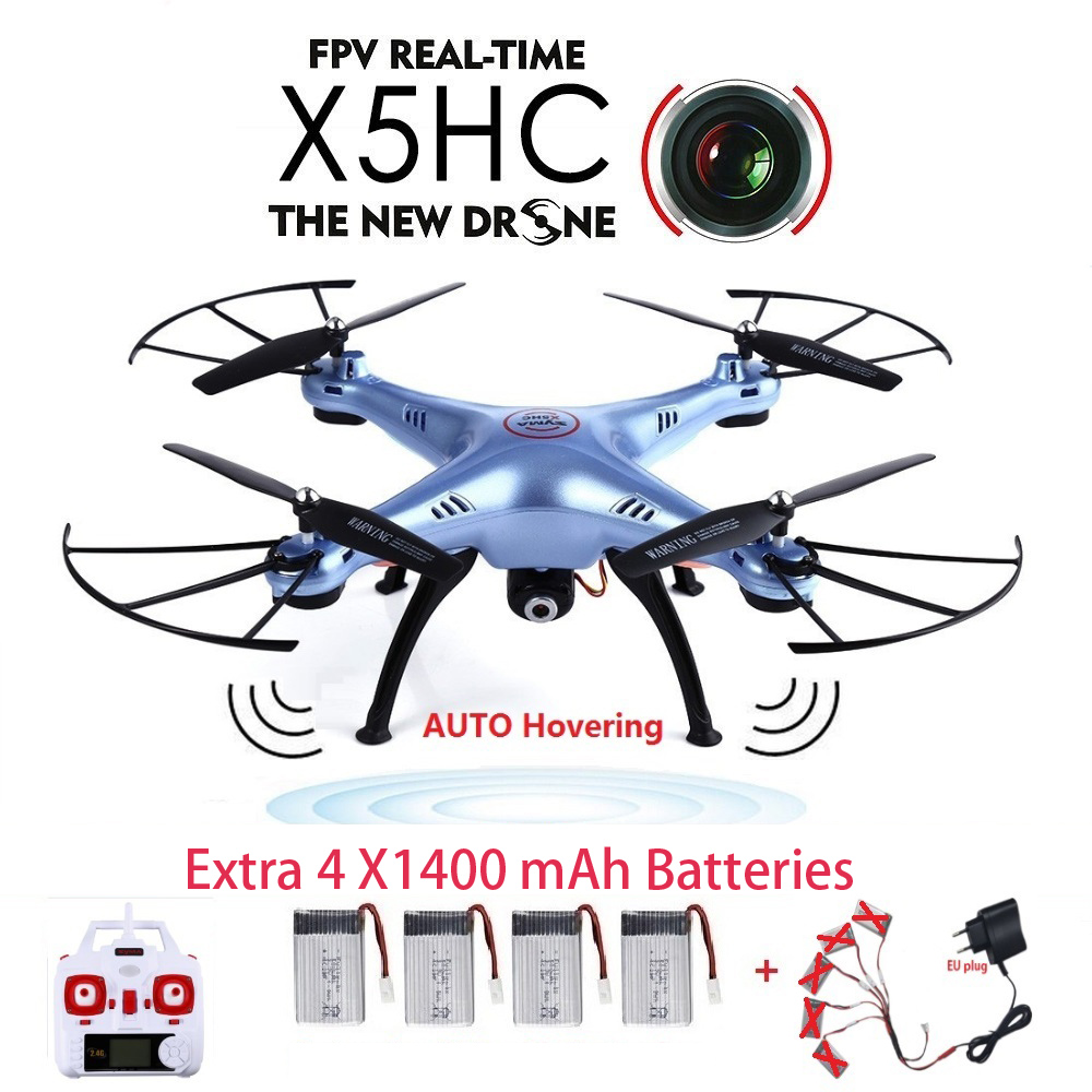 Original SYMA X5HC FPV Camera RC Drone With 2MP HD Camera 2.4GHz 6 Axis 4CH RC Quadcopter Helicopter Drone Kit Headless Mode syma x5sw 4ch 2 4ghz 6 axis rc quadcopter with hd camera hovering headless mode rc drone 1200mah battery prop 4pcs motor 2pcs