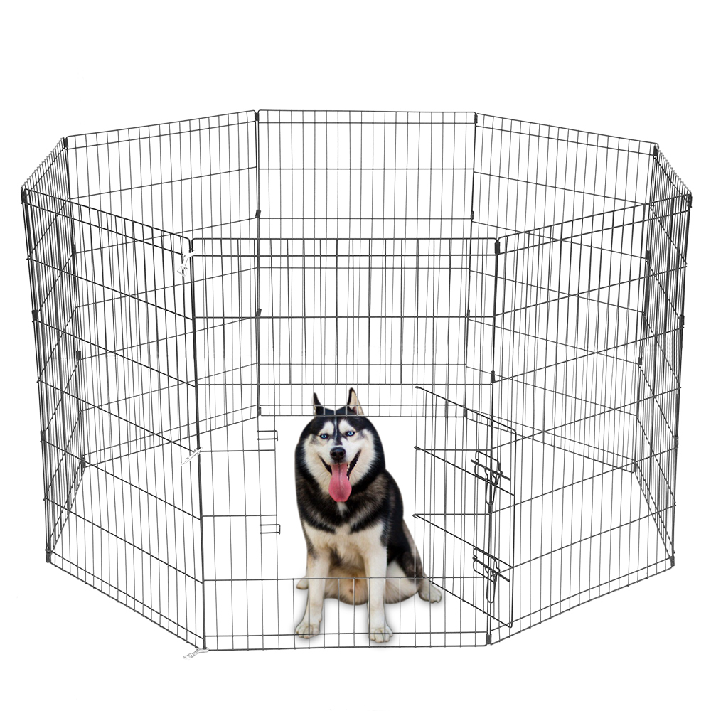 8 Panel Portable Folding Dog Animal Pet Playpen Metal Black Wire Fence Dog Exercise Yard Popup Kennel Crate Tent Cage - US Stock play pen for dog