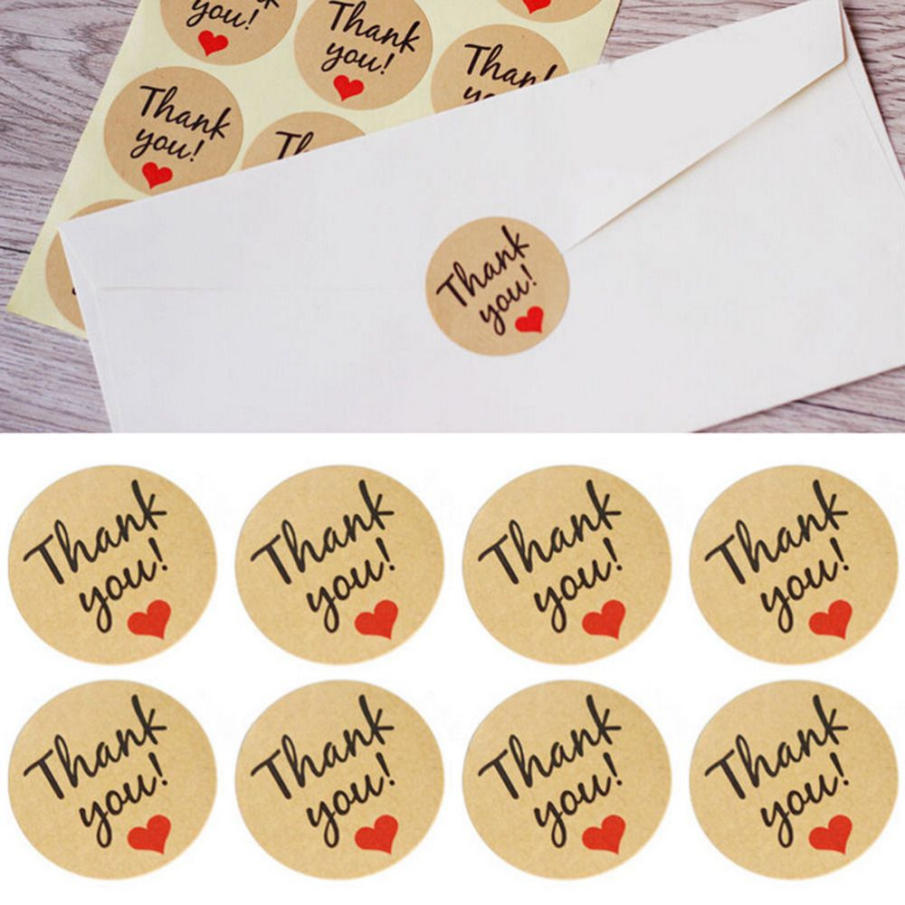 60pcs/5Sheet DIY Handmade Wtih Love Red Heart Thank You Round Scrapbooking Paper Labels Seal Sticker