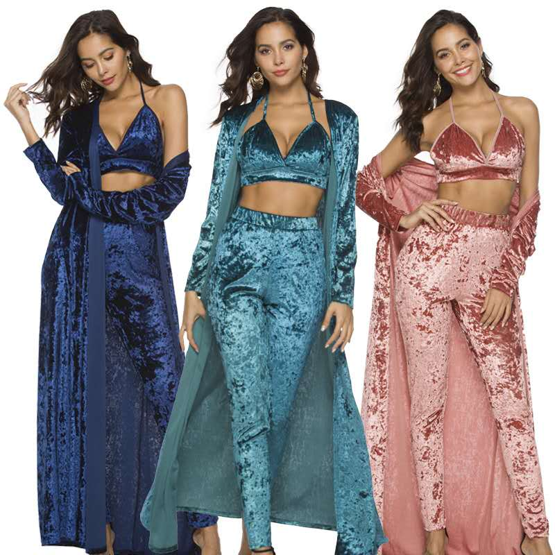 Ensemble de trois pièces pour femmes mode élégant tricoté élastique velours caleçon long et cardigans pardessus trois pièces ensembles