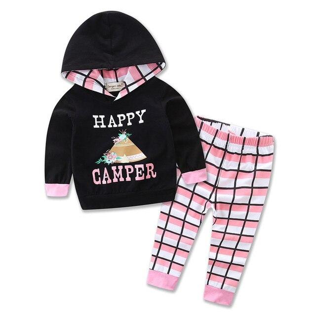 3c286f7ad Newborn baby Girl Plaid clothing kids infant boy clothes hooded t-shirt top  + pants 2pcs set cotton motion outfit Christmas Suit