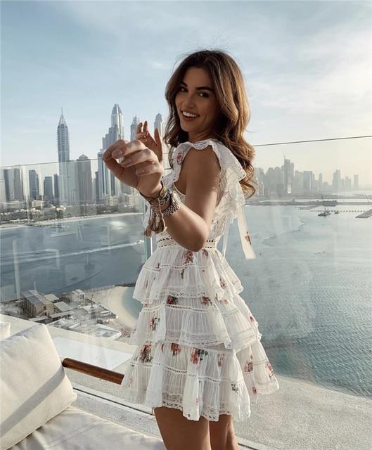 2020 Elegant Printed Mini Dress with Ruffles 2