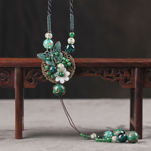 New shell flowers with butterfly ethnic necklace fashion cloisonne jewelry women vintage necklace, green chalcedony necklace