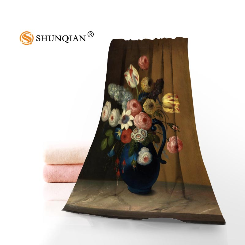 New Custom flower oil painting Towel Printed Cotton Face/Bath Towels Microfiber Fabric For Kids Men Women Shower Towels QAZ098I
