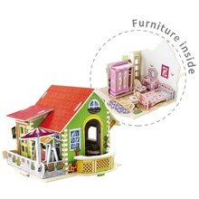 Robud Bedroom Doll House Furniture Inside Wooden Assembly Dollhouse Miniature Toys Hobbies Model Building Kits for Children H59(China)
