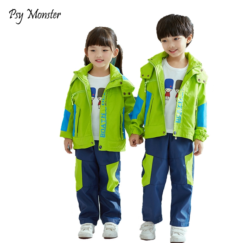 цена Boys Girls School Uniform Jackets Polar Fleece Waterproof Windbreaker Jacket + Pants Children Coat Kids Clothes For 3-12T A39