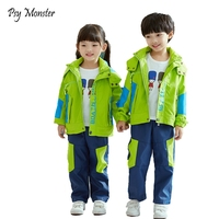 Boys Girls School Uniform Jackets Polar Fleece Waterproof Windbreaker Jacket Pants Children Coat Kids Clothes For