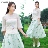 KYQIAO Women Pullover Female Autumn Half Sleeve Lace Stand Collar Handmade Frog Blouse Shirt Blusa Traditional