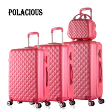 12″20″24″28″4Piece Diamond lines Trolley suitcase/travell case luggage/Pull Rod trunk rolling spinner wheels/ABS boarding bag