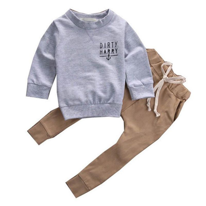Baby Boy Cotton Clothes Baby O-neck Long Sleeve Coat + Long Pants 2 Pieces Set Letter Print Cute Kids Boys Clothes