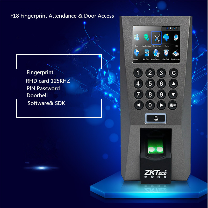 ZKTeco F18 Access Control Time Attendance Recognition System ZK 5 0 Time  Attendance System USB Fingerprint Scanner with SDK-in Fingerprint Access