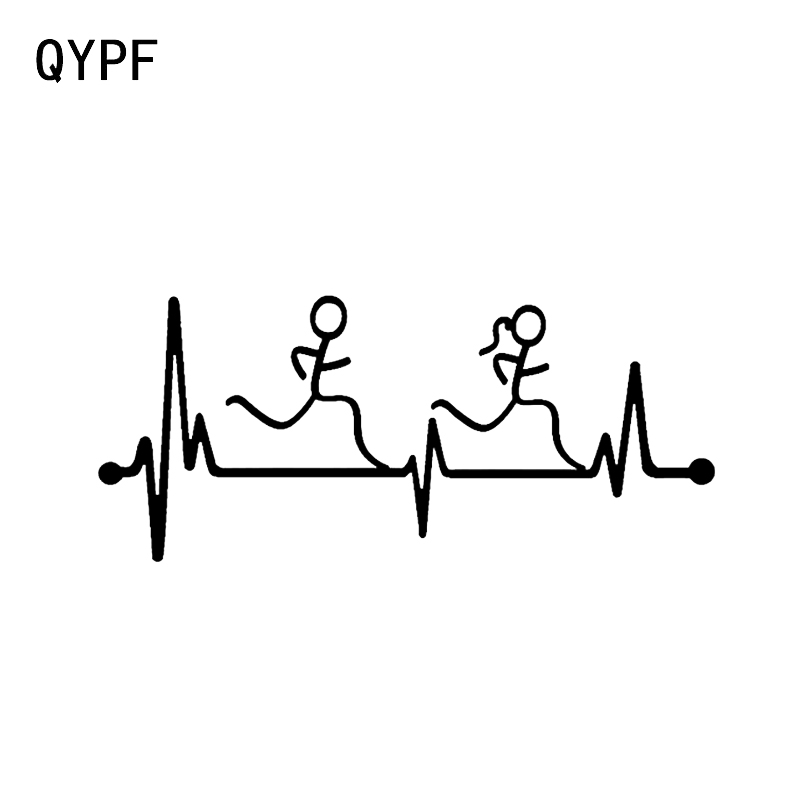 QYPF 16.2*7CM Heartbeat Runner Guy And Girl Decor Car Styling Sticker Vinyl Accessories C16-0764