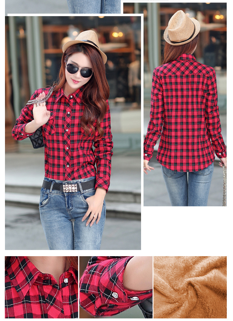 19 Brand New Winter Warm Women Velvet Thicker Jacket Plaid Shirt Style Coat Female College Style Casual Jacket Outerwear 23