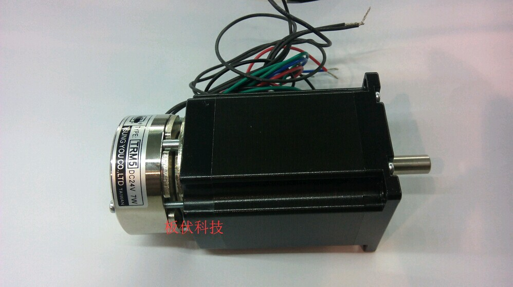 New 2-phase stepper motor nema 23 output 2.2NM Torque instal with a 24V brake 57HS22-BJ shaft size 8MM work with M542 CNC motor new double shaft motor nema 23 stepper