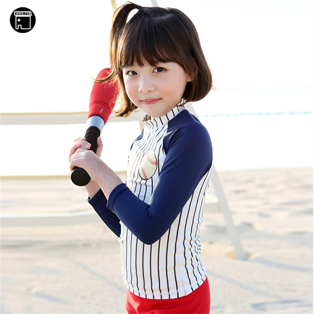 USEEMALL Korean Swimwear 3 Pieces Swimming Suit for Kids Girls Children  Swimsuit Sport Baseball UV Bathing Suits with Swim Cap 60b8df5c8339