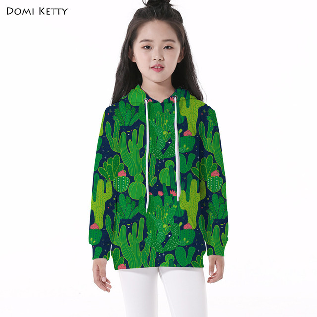 a0402e1b54f Domi Ketty girls hoodies tops printed cacti plants pullover children long  sleeve sweatshirts school kids boys