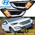 Santa fe ix45 headlight,2013~2016,(LHD,If RHD need add 200USD),Free ship! ix45 fog light,2ps/se+2pcs Aozoom Ballast, Santa fe