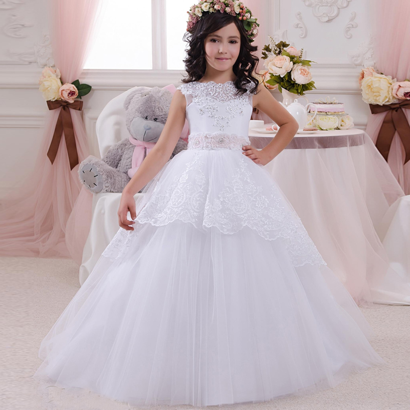 New white ball gown flower girl dresses 2017 hot sale beautiful lace appliques floor length first communion dress for girls