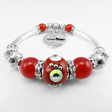 Cute Girl Red Beaded Bracelet, Galvanized Elbow Alloy Bracelet, Indonesia Beads Jewelry(China)