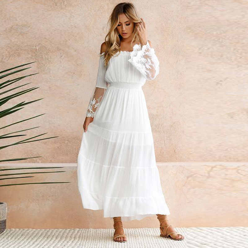 2019 new Women Sexy Strapless Beach maxi lace Dress Summer party White boho  party vestidos slash 4d2a8f2a34aa