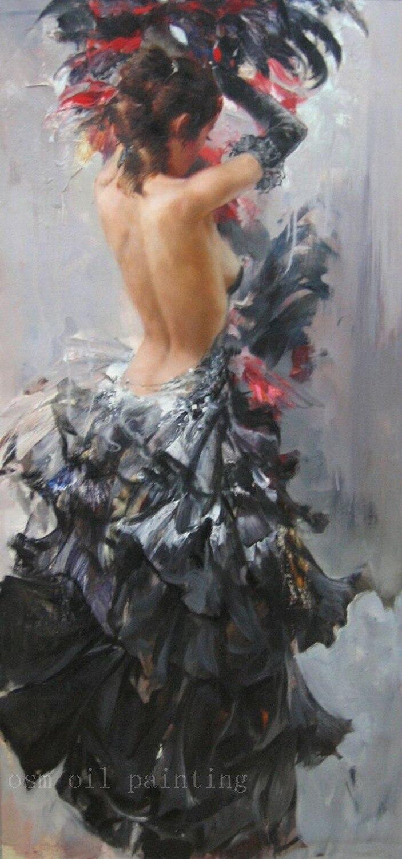 Handmade Abstract Wall Art Decor Calligraphy Portrait Sexy Nude Spanish Flamenco Dancer in Black Dress Oil