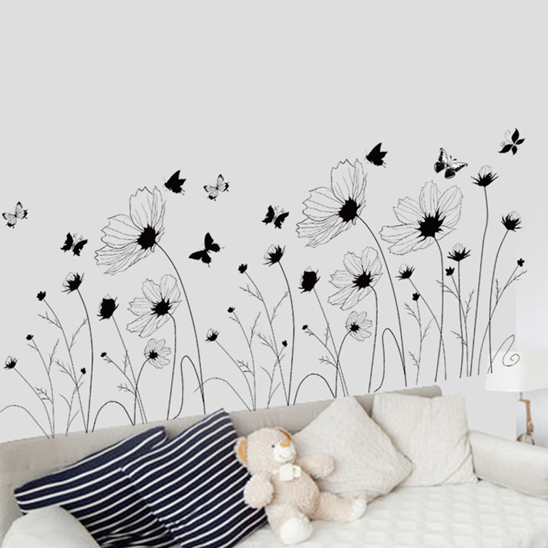 Black Flowers Butterfly Wall Stickers