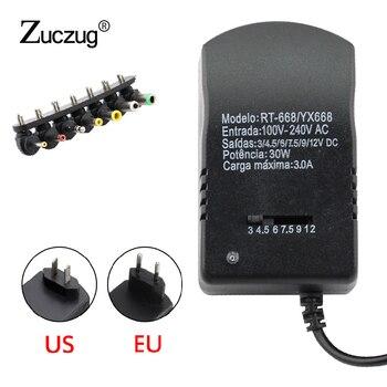 Universal Power Adaptor Multi Tegangan 3 V 4.5 V 6 V 7.5 V 9 V 12 V Power Supply Adapter converter Kabel 7 Colokan Adaptor 3A 30 W
