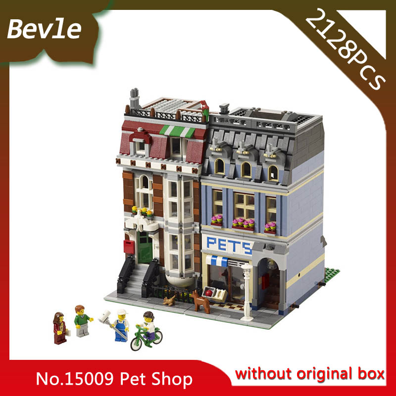 Bevle Store LEPIN 15009 2082Pcs street View series City Street Pet Shop Building Blocks Bricks For Children Toys 10218 gift compatible lepin city mini street view building blocks chinatown satin silk store with saleman figures toys for children gift