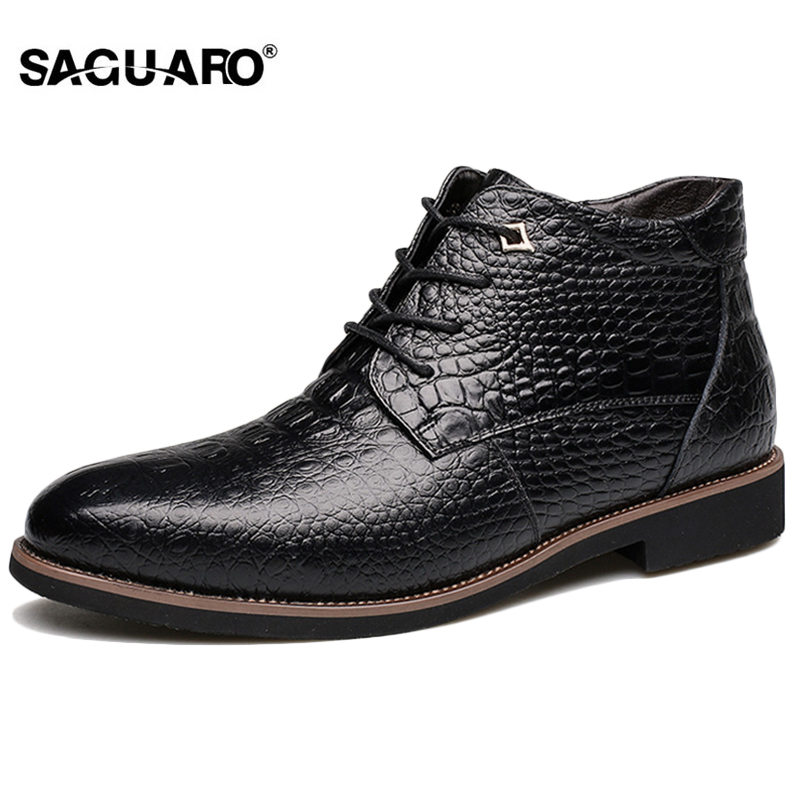 SAGUARO Autumn Winter Men Shoes Boots 2018 Fashion Genuine Leather Casual Boots Men Lace-up Warm Ankle Boot sapato masculino xiaguocai new arrival real leather casual shoes men boots with fur warm men winter shoes fashion lace up flats ankle boots h599