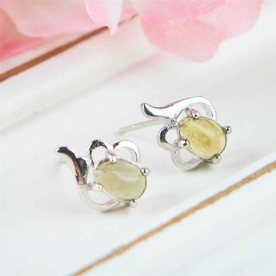 Véritable naturel jaune Tourmaline gemmes pierre perle dame mode Sterling 925 argent Stud boucle d'oreille