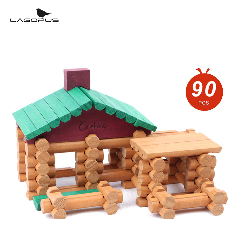 New 90pcs Small Forest Wooden Safe Built Blocks Wooden Lincoln Building House Log Blocks Early Learning Educational Toys for Kid 100pcs wooden forest animal toys building blocks for boys and girls early learning development assembly blocks toy birthday gift