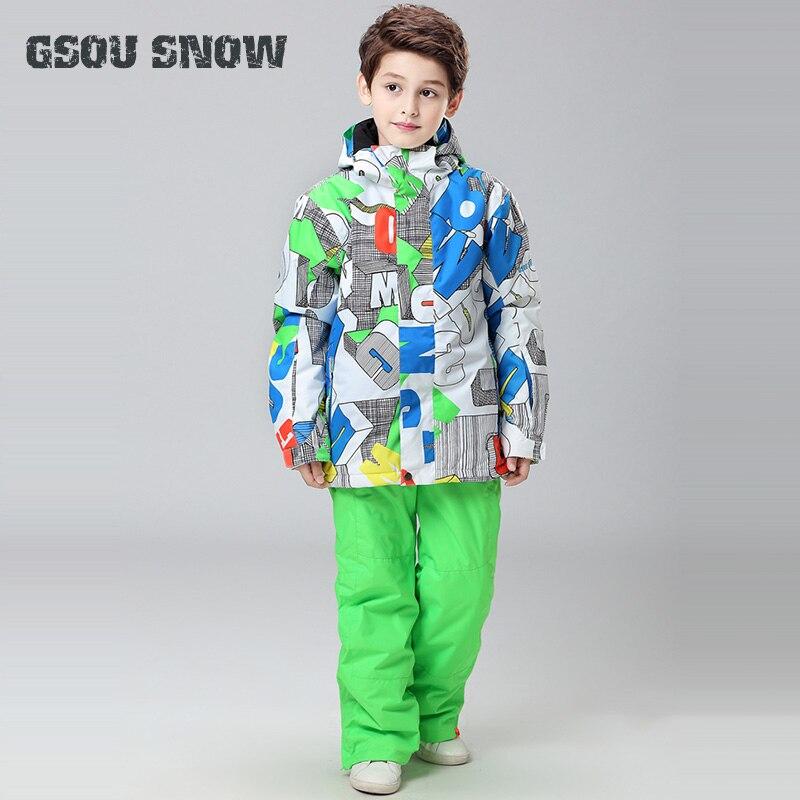 Gsou снег для мальчиков Лыжная куртка брюки ветрозащитный Водонепроницаемый Лыжный спорт Сноуборд Открытый Спортивная одежда отдых езда Ком