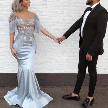 Dress To Party Mermaid Long robe de soiree 2019 abiye Evening Dress V Neckline Custom Made Elegant Formal Dresses