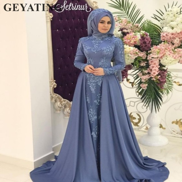 Blue Arabic Evening Dress With Detachable Skirt Long Sleeves Muslim
