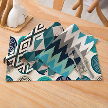 TTLIFE Blue Geometric Pattern Table Placemat mat Coasters Cotton-linen for Dining accessories