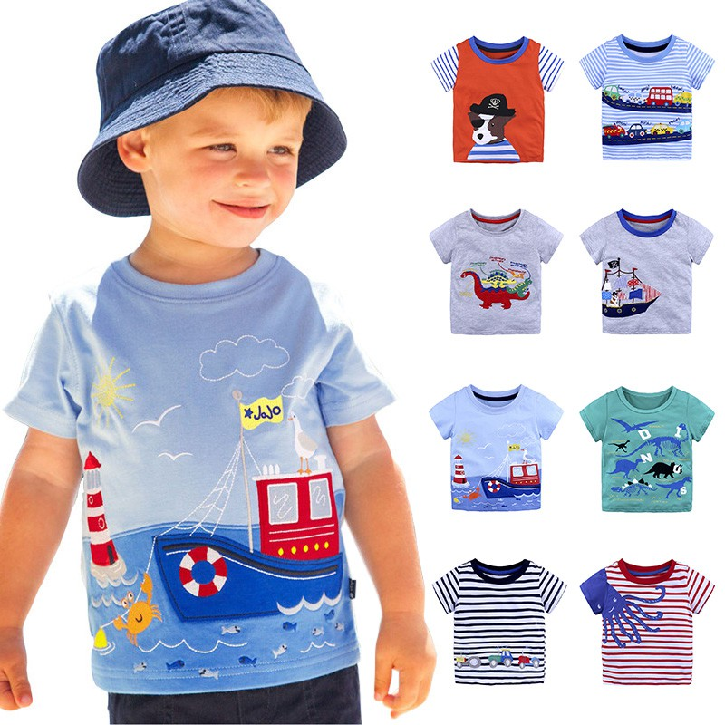 Summer Kids Baby Boy Cotton Short Sleeve T-shirt Tops Children Cartoon Stripe Car Animal Pattern Blouse Clothes Hot Sale red stripe pattern off shoulder t shirt with frill details