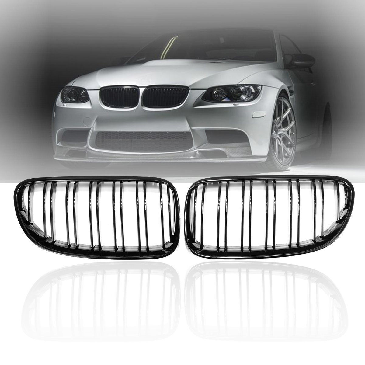 Pair Gloss Matt Black M Color Front Kidney Grill Grille Dual Line Slat For BMW E92 E93 328i 335i 2010 2011 2012 2013 2014 car bight glossy black double slat front grille grill for bmw e92 lci facelift e93 2011 2012 2013 c 5